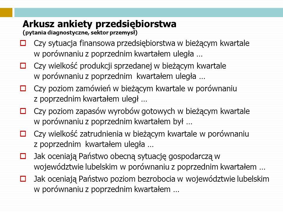 Arkusz ankiety przedsiębiorstwa (pytania diagnostyczne, sektor przemysł) Czy sytuacja finansowa przedsiębiorstwa w bieżącym kwartale w porównaniu z po
