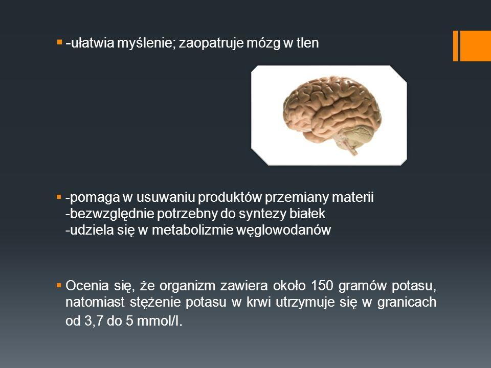 - ułatwia myślenie; zaopatruje mózg w tlen -pomaga w usuwaniu produktów przemiany materii -bezwzględnie potrzebny do syntezy białek -udziela się w met