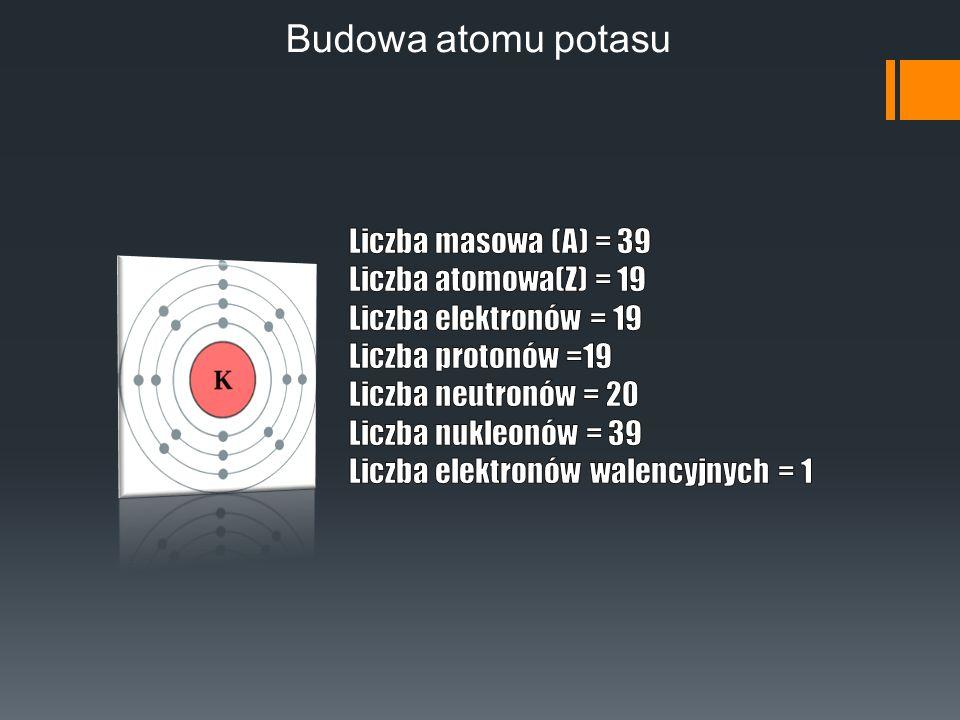 Konfiguracja elektronowa Zapis konfiguracji elektronowej potasu: 1.