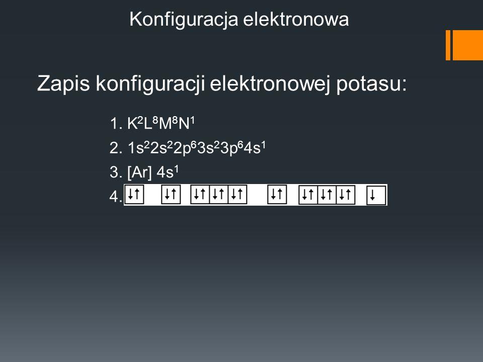 Konfiguracja elektronowa Zapis konfiguracji elektronowej potasu: 1. K 2 L 8 M 8 N 1 2. 1s 2 2s 2 2p 6 3s 2 3p 6 4s 1 3. [Ar] 4s 1 4.