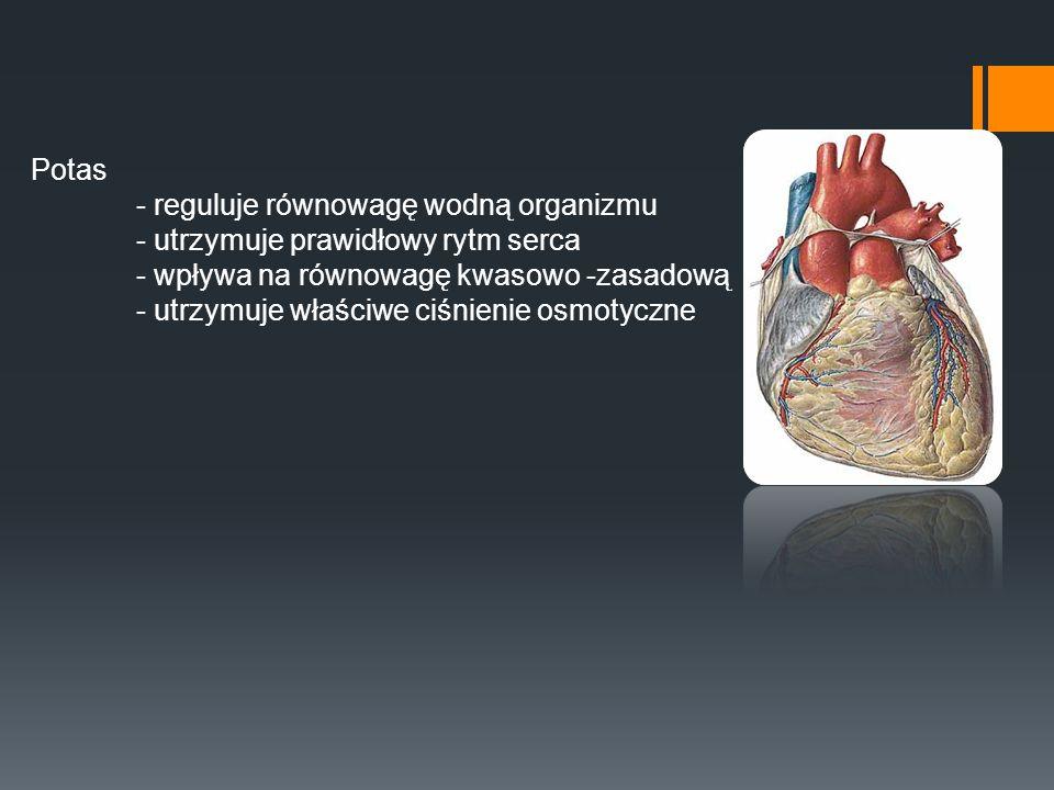 Potas - reguluje równowagę wodną organizmu - utrzymuje prawidłowy rytm serca - wpływa na równowagę kwasowo -zasadową - utrzymuje właściwe ciśnienie os