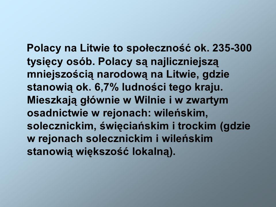 Polacy na Litwie to społeczność ok. 235-300 tysięcy osób. Polacy są najliczniejszą mniejszością narodową na Litwie, gdzie stanowią ok. 6,7% ludności t