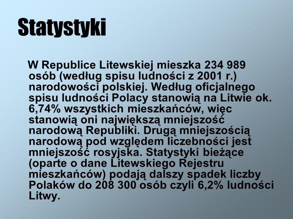 Statystyki W Republice Litewskiej mieszka 234 989 osób (według spisu ludności z 2001 r.) narodowości polskiej. Według oficjalnego spisu ludności Polac