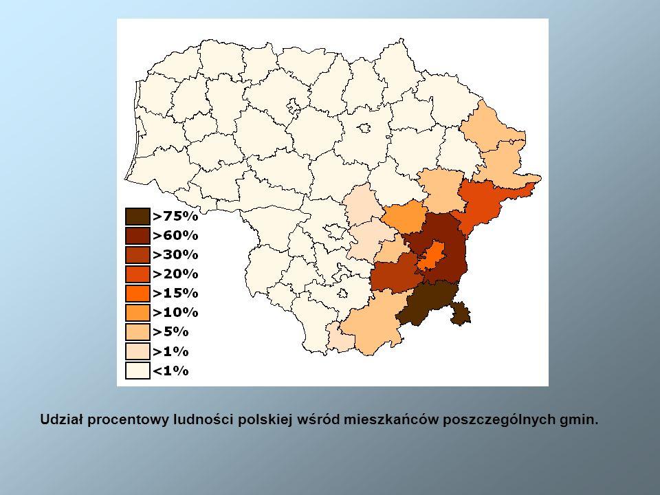 Udział procentowy ludności polskiej wśród mieszkańców poszczególnych gmin.