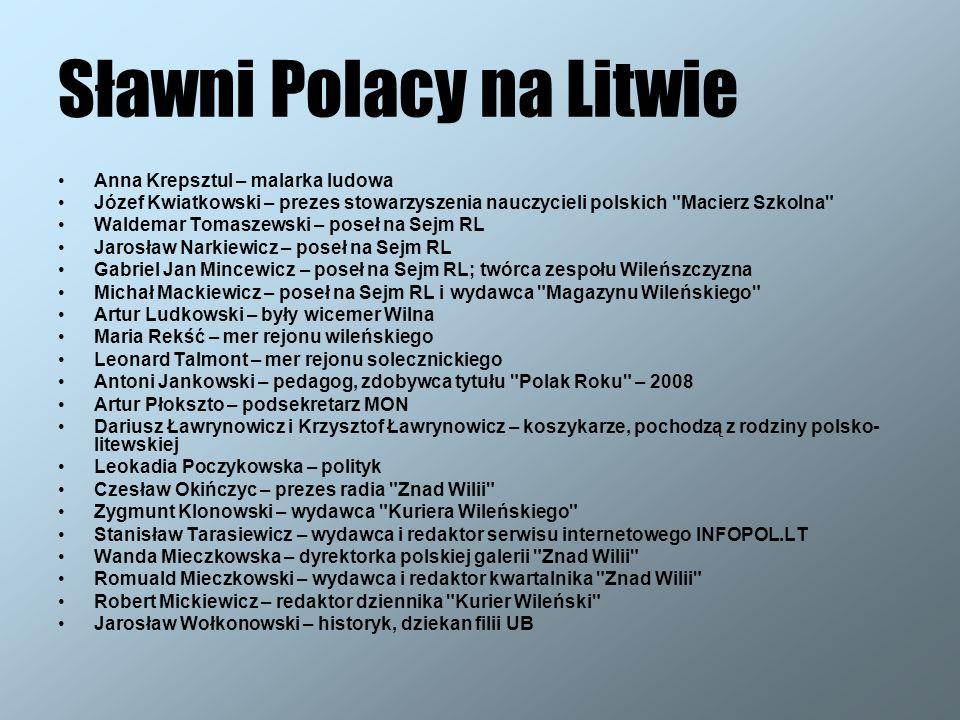 Sławni Polacy na Litwie Anna Krepsztul – malarka ludowa Józef Kwiatkowski – prezes stowarzyszenia nauczycieli polskich