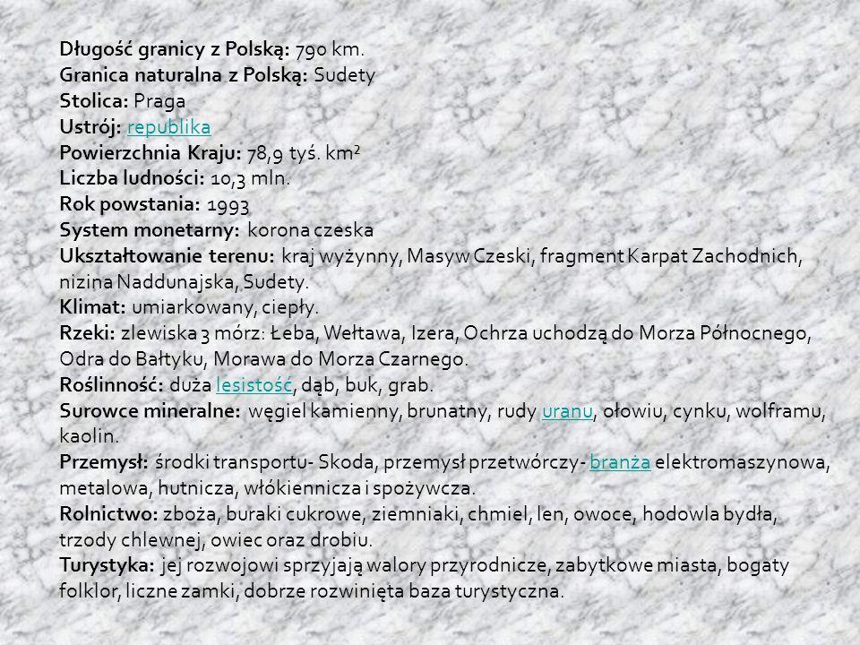 Długość granicy z Polską: 790 km. Granica naturalna z Polską: Sudety Stolica: Praga Ustrój: republikarepublika Powierzchnia Kraju: 78,9 tyś. km² Liczb