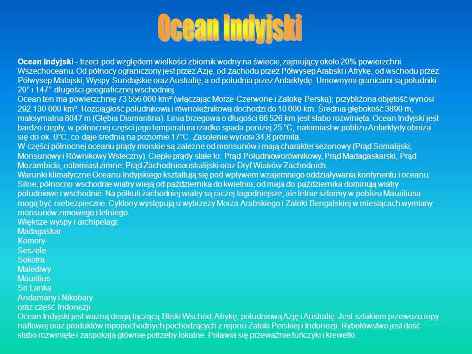 Ocean Indyjski - trzeci pod względem wielkości zbiornik wodny na świecie, zajmujący około 20% powierzchni Wszechoceanu. Od północy ograniczony jest pr