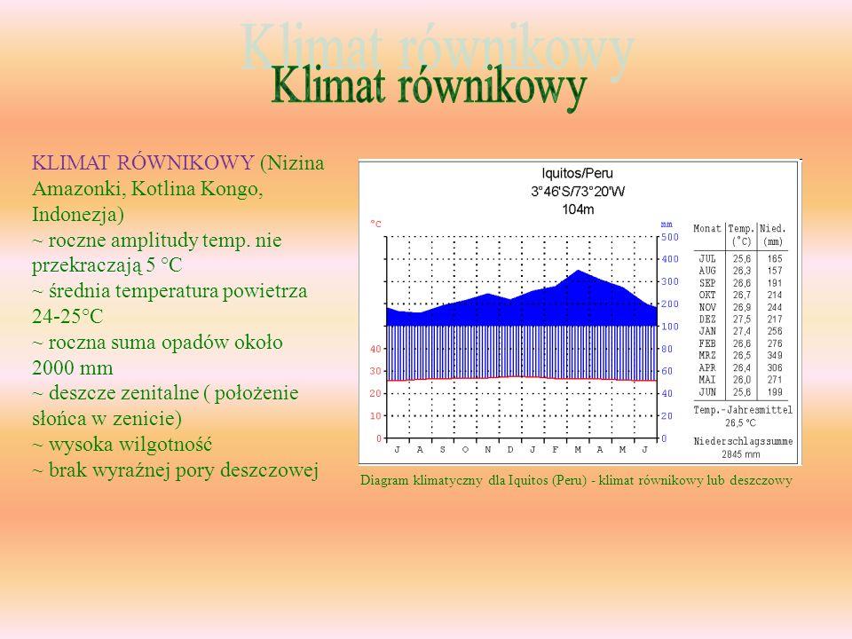 KLIMAT RÓWNIKOWY (Nizina Amazonki, Kotlina Kongo, Indonezja) ~ roczne amplitudy temp. nie przekraczają 5 °C ~ średnia temperatura powietrza 24-25°C ~