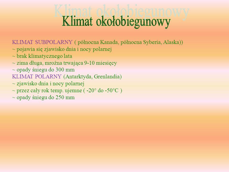 KLIMAT SUBPOLARNY ( północna Kanada, północna Syberia, Alaska)) ~ pojawia się zjawisko dnia i nocy polarnej ~ brak klimatycznego lata ~ zima długa, mr