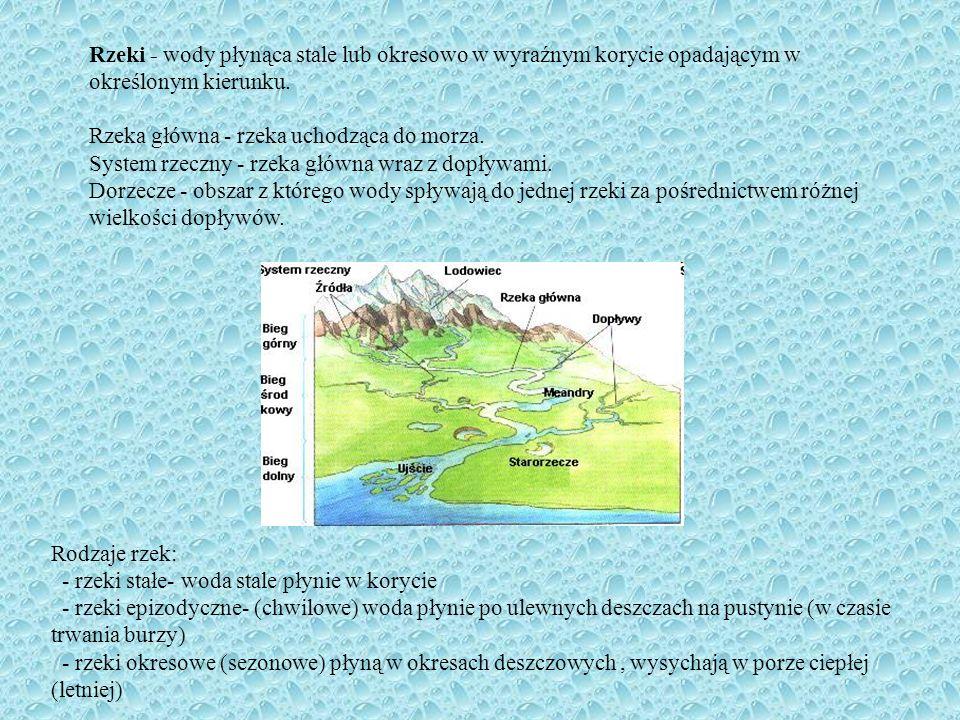 Rzeki - wody płynąca stale lub okresowo w wyraźnym korycie opadającym w określonym kierunku. Rzeka główna - rzeka uchodząca do morza. System rzeczny -