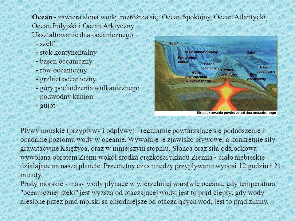 Ocean - zawiera słona wodę, rozróżnia się: Ocean Spokojny, Ocean Atlantycki, Ocean Indyjski i Ocean Arktyczny. Ukształtowanie dna oceanicznego - szelf