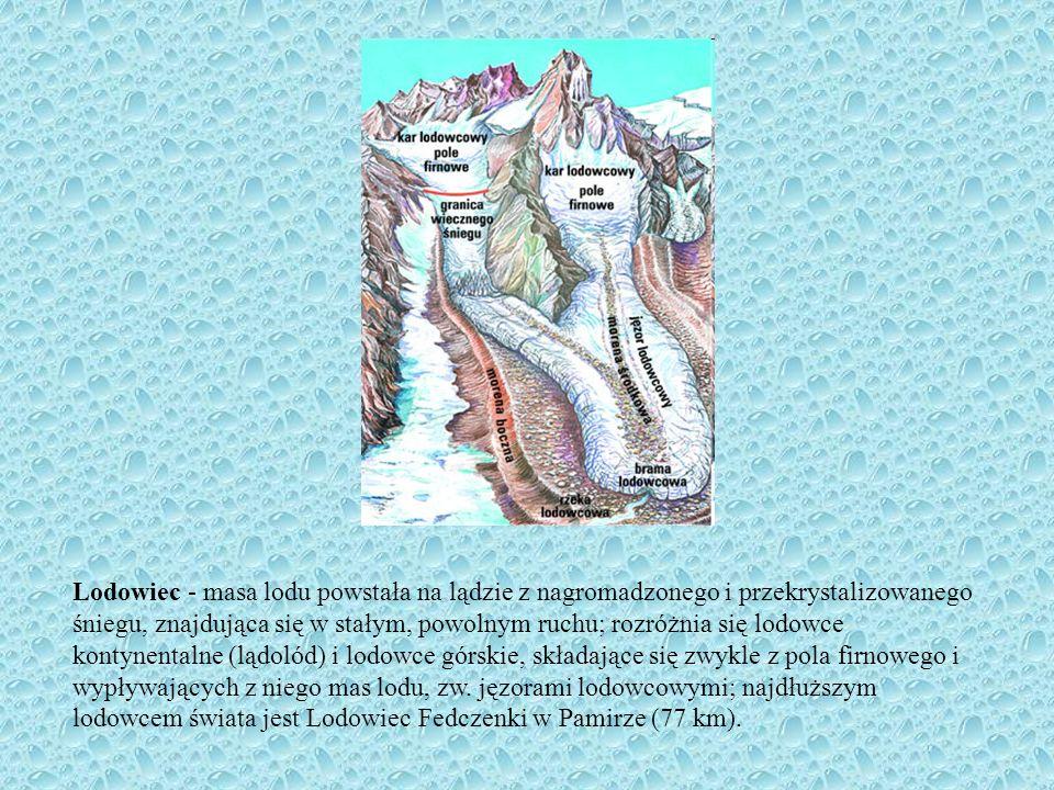 Lodowiec - masa lodu powstała na lądzie z nagromadzonego i przekrystalizowanego śniegu, znajdująca się w stałym, powolnym ruchu; rozróżnia się lodowce