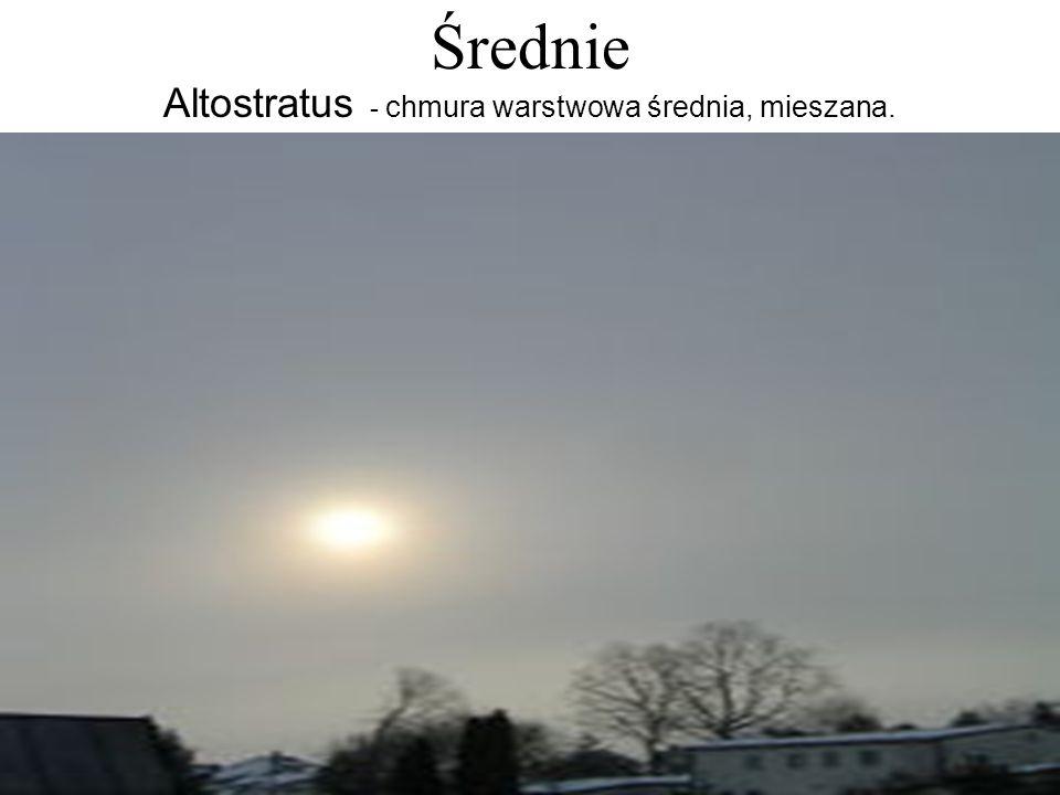 Średnie Altostratus - chmura warstwowa średnia, mieszana.