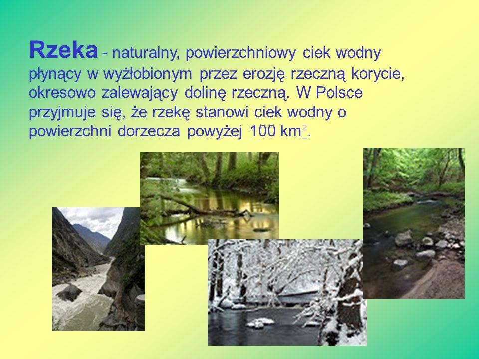 Rzeka - naturalny, powierzchniowy ciek wodny płynący w wyżłobionym przez erozję rzeczną korycie, okresowo zalewający dolinę rzeczną. W Polsce przyjmuj