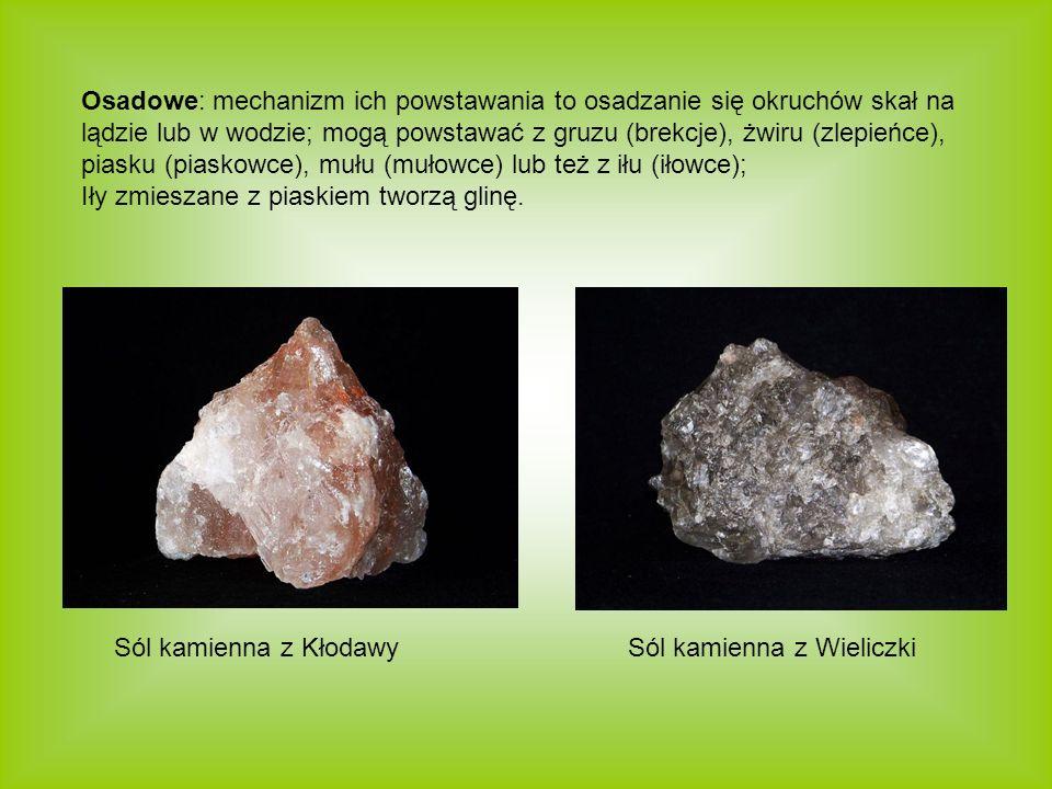 Osadowe: mechanizm ich powstawania to osadzanie się okruchów skał na lądzie lub w wodzie; mogą powstawać z gruzu (brekcje), żwiru (zlepieńce), piasku