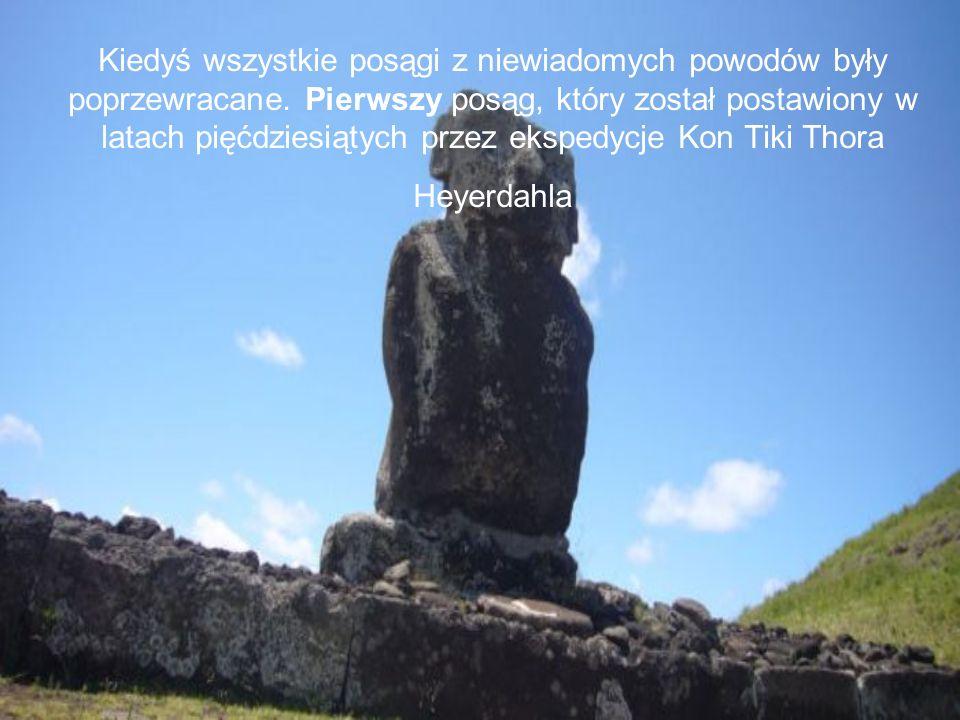 Na wyspie można znaleźć ok.900 moai, jednak tylko część w pozycji stojącej .