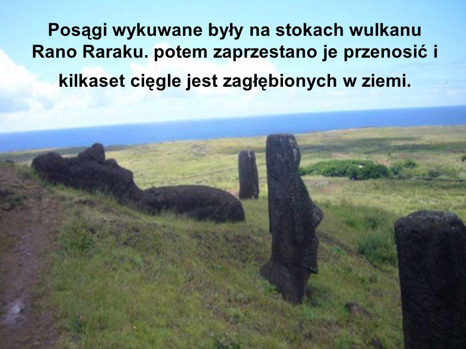 Posągi wykuwane były na stokach wulkanu Rano Raraku. potem zaprzestano je przenosić i kilkaset cięgle jest zagłębionych w ziemi.