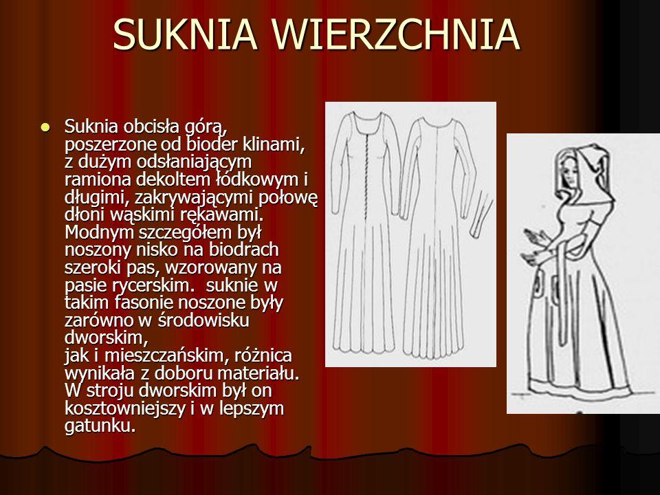 SUKNIA WIERZCHNIA Suknia obcisła górą, poszerzone od bioder klinami, z dużym odsłaniającym ramiona dekoltem łódkowym i długimi, zakrywającymi połowę dłoni wąskimi rękawami.
