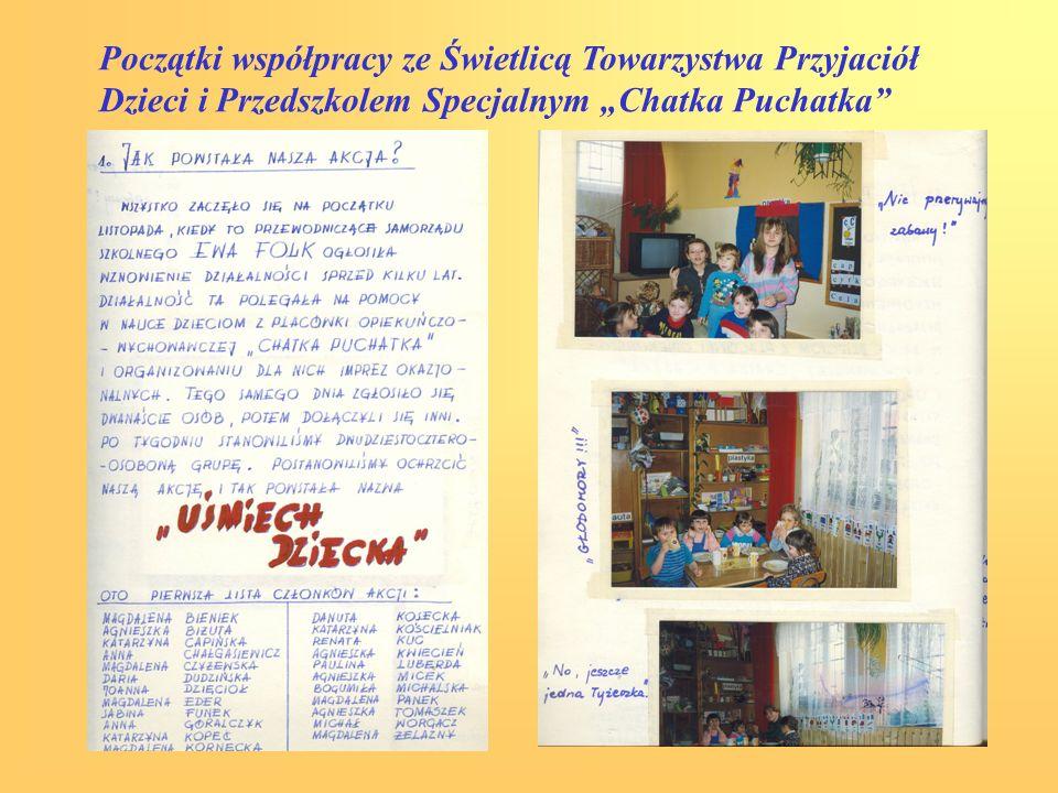 Początki współpracy ze Świetlicą Towarzystwa Przyjaciół Dzieci i Przedszkolem Specjalnym Chatka Puchatka