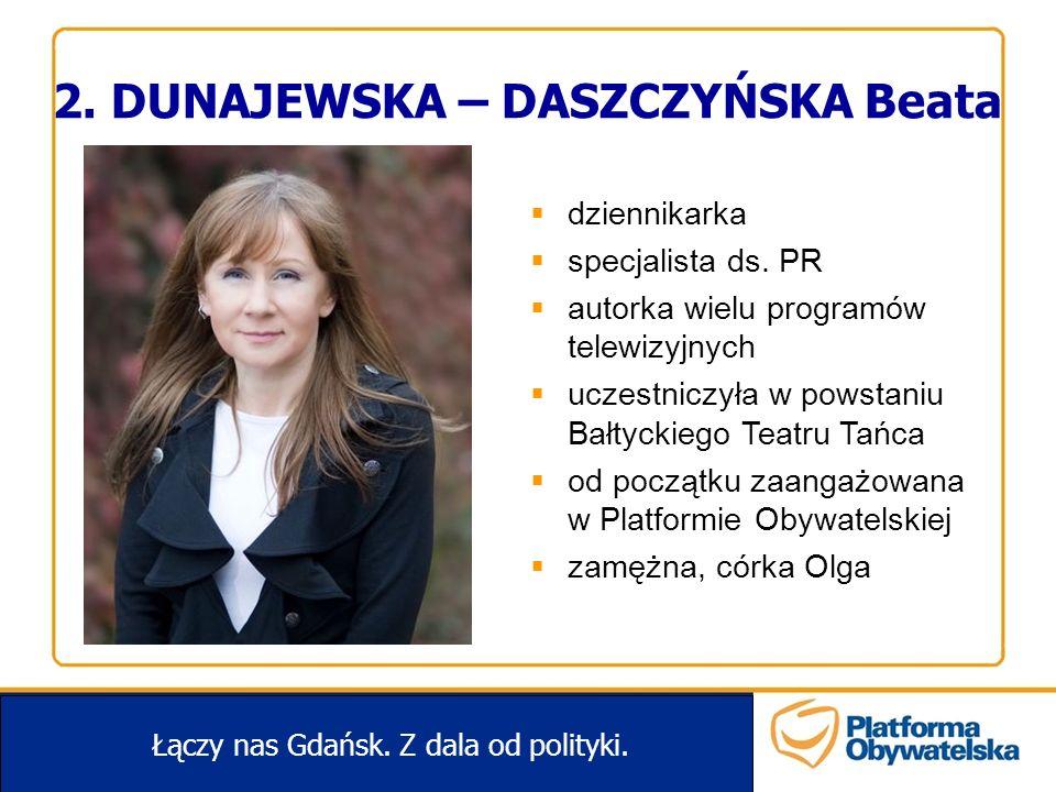 2. DUNAJEWSKA – DASZCZYŃSKA Beata Łączy nas Gdańsk. Z dala od polityki. dziennikarka specjalista ds. PR autorka wielu programów telewizyjnych uczestni