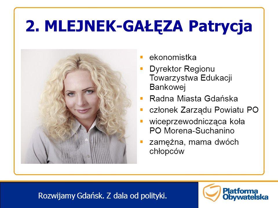 2. MLEJNEK-GAŁĘZA Patrycja Rozwijamy Gdańsk. Z dala od polityki. ekonomistka Dyrektor Regionu Towarzystwa Edukacji Bankowej Radna Miasta Gdańska człon