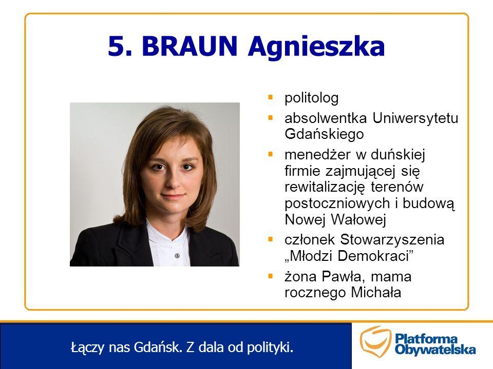 5. BRAUN Agnieszka Łączy nas Gdańsk. Z dala od polityki. politolog absolwentka Uniwersytetu Gdańskiego menedżer w duńskiej firmie zajmującej się rewit