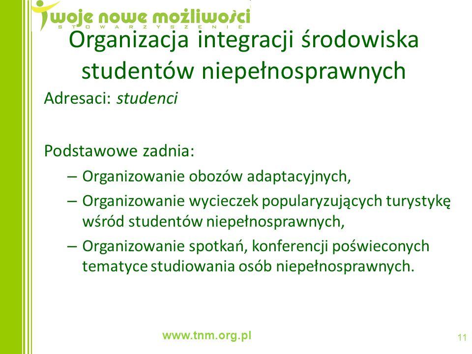 www.tnm.org.pl 11 Organizacja integracji środowiska studentów niepełnosprawnych Adresaci: studenci Podstawowe zadnia: – Organizowanie obozów adaptacyj