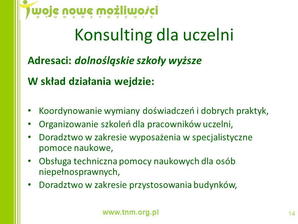 www.tnm.org.pl 14 Konsulting dla uczelni Adresaci: dolnośląskie szkoły wyższe W skład działania wejdzie: Koordynowanie wymiany doświadczeń i dobrych p