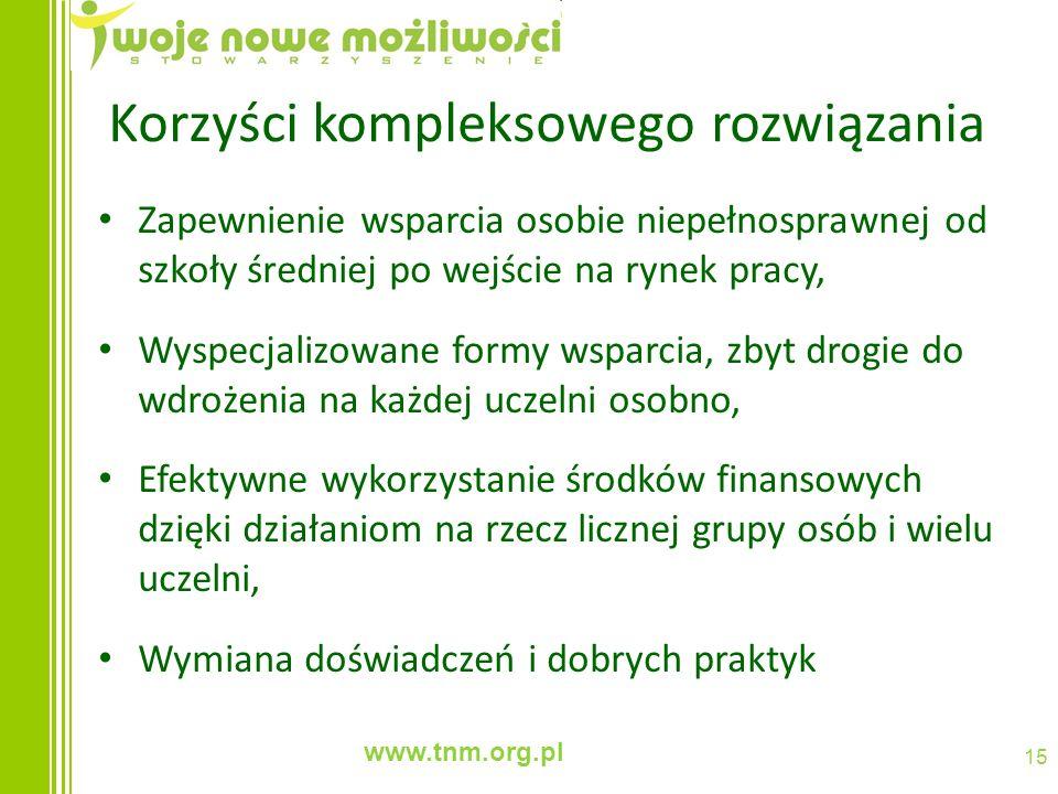 www.tnm.org.pl 15 Korzyści kompleksowego rozwiązania Zapewnienie wsparcia osobie niepełnosprawnej od szkoły średniej po wejście na rynek pracy, Wyspec