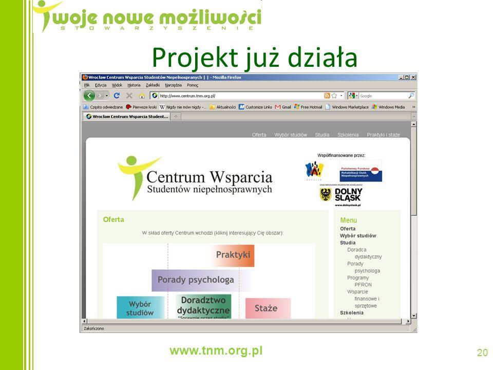 www.tnm.org.pl 20 Projekt już działa