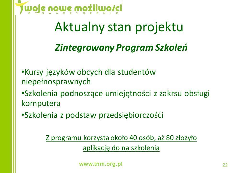 www.tnm.org.pl 22 Aktualny stan projektu Zintegrowany Program Szkoleń Kursy języków obcych dla studentów niepełnosprawnych Szkolenia podnoszące umieję