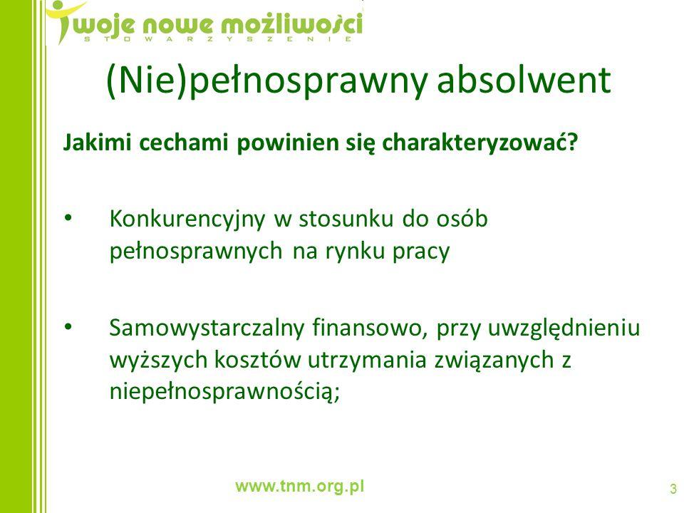 www.tnm.org.pl 3 (Nie)pełnosprawny absolwent Jakimi cechami powinien się charakteryzować? Konkurencyjny w stosunku do osób pełnosprawnych na rynku pra