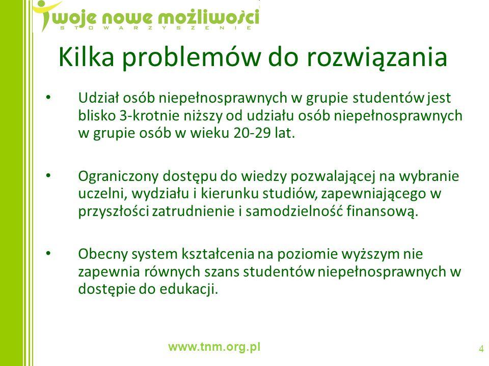 www.tnm.org.pl 4 Kilka problemów do rozwiązania Udział osób niepełnosprawnych w grupie studentów jest blisko 3-krotnie niższy od udziału osób niepełno