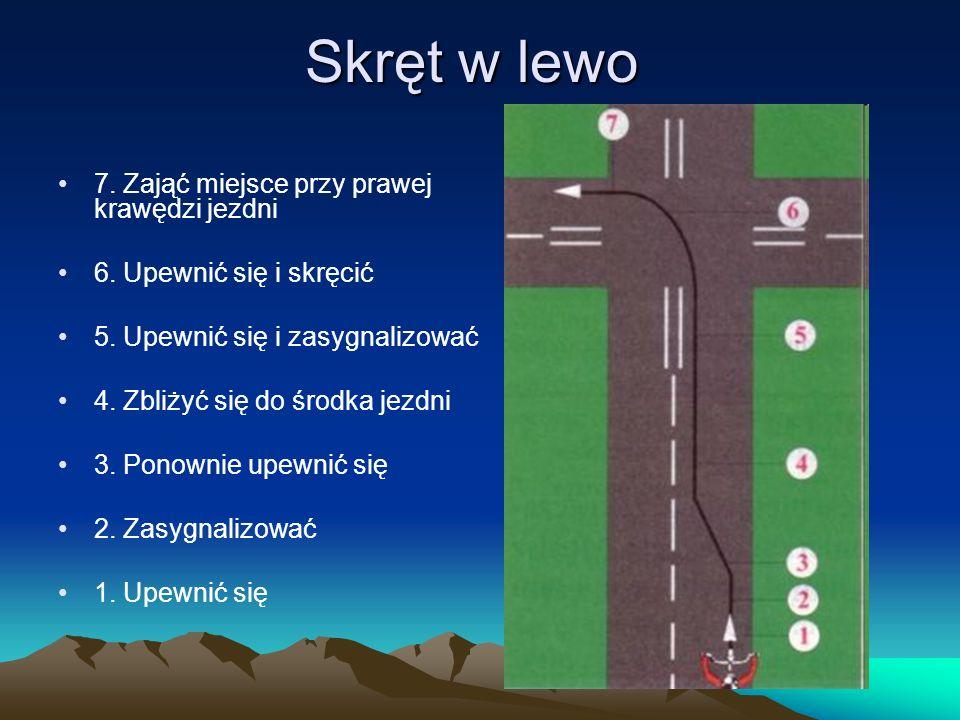 Skręt w lewo 7. Zająć miejsce przy prawej krawędzi jezdni 6. Upewnić się i skręcić 5. Upewnić się i zasygnalizować 4. Zbliżyć się do środka jezdni 3.