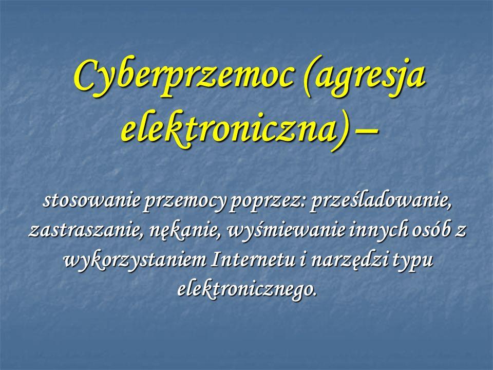 Formy cyberprzemocy ; Umieszczanie kompromitujących materiałów w Sieci Umieszczanie kompromitujących materiałów w Sieci Włamania na konta pocztowe Włamania na konta pocztowe Podszywanie się w Sieci pod rówieśników Podszywanie się w Sieci pod rówieśników Nękanie, straszenie, szantażowanie za pomocą Sieci Nękanie, straszenie, szantażowanie za pomocą Sieci Groźby przy użyciu komunikatora Groźby przy użyciu komunikatora