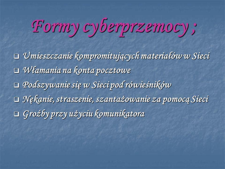 Formy cyberprzemocy ; Umieszczanie kompromitujących materiałów w Sieci Umieszczanie kompromitujących materiałów w Sieci Włamania na konta pocztowe Wła