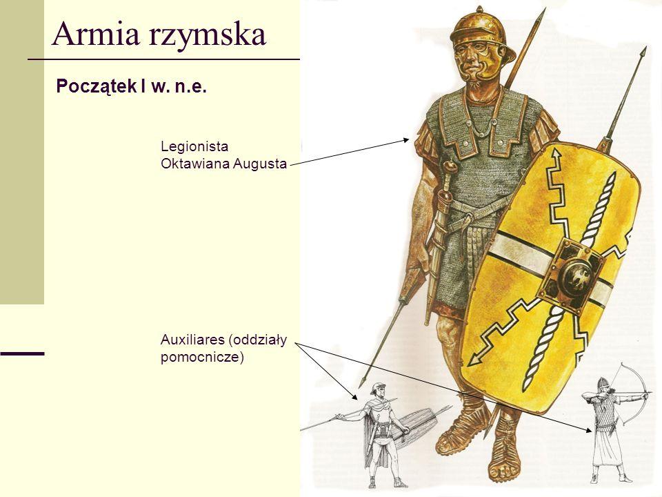 Armia rzymska Początek I w. n.e. Legionista Oktawiana Augusta Auxiliares (oddziały pomocnicze)