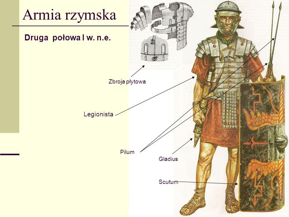 Armia rzymska Druga połowa I w. n.e. Legionista Zbroja płytowa Pilum Scutum Gladius
