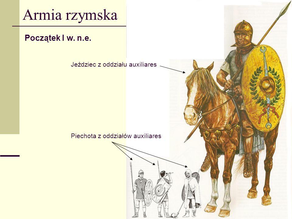 Armia rzymska Początek I w. n.e. Jeździec z oddziału auxiliares Piechota z oddziałów auxiliares