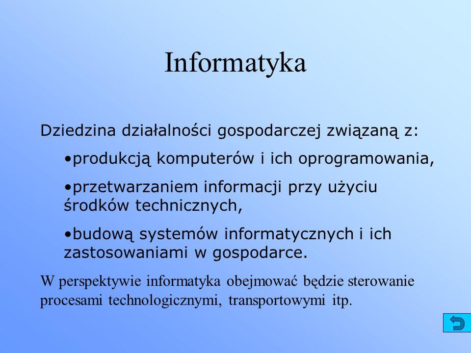Informatyka Dziedzina działalności gospodarczej związaną z: produkcją komputerów i ich oprogramowania, przetwarzaniem informacji przy użyciu środków t