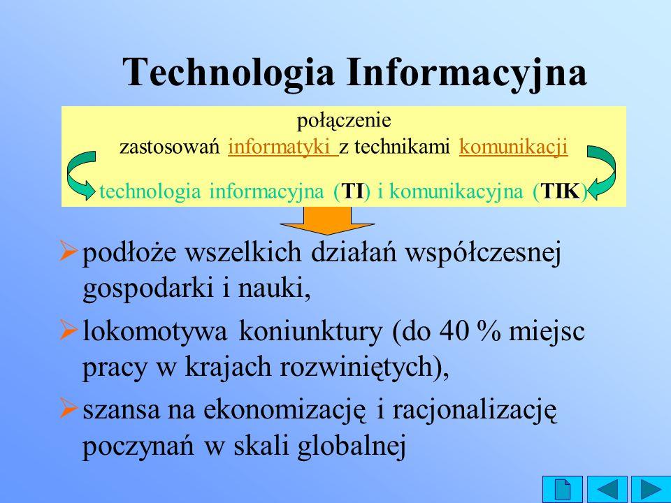 Technologia Informacyjna podłoże wszelkich działań współczesnej gospodarki i nauki, lokomotywa koniunktury (do 40 % miejsc pracy w krajach rozwiniętyc