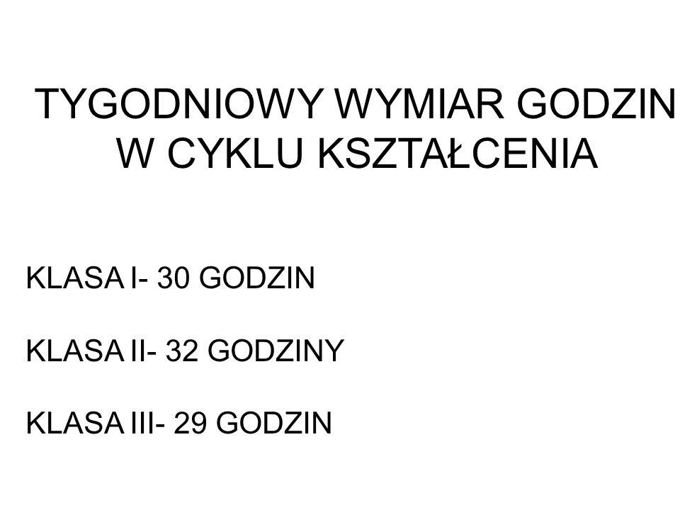TYGODNIOWY WYMIAR GODZIN W CYKLU KSZTAŁCENIA KLASA I- 30 GODZIN KLASA II- 32 GODZINY KLASA III- 29 GODZIN