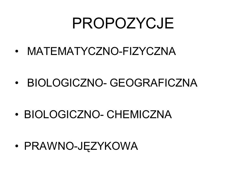 PROPOZYCJE MATEMATYCZNO-FIZYCZNA BIOLOGICZNO- GEOGRAFICZNA BIOLOGICZNO- CHEMICZNA PRAWNO-JĘZYKOWA