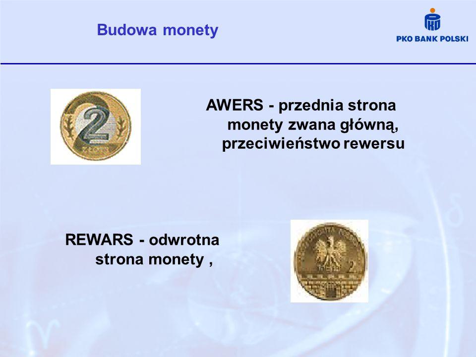 AWERS - przednia strona monety zwana główną, przeciwieństwo rewersu Budowa monety REWARS - odwrotna strona monety,