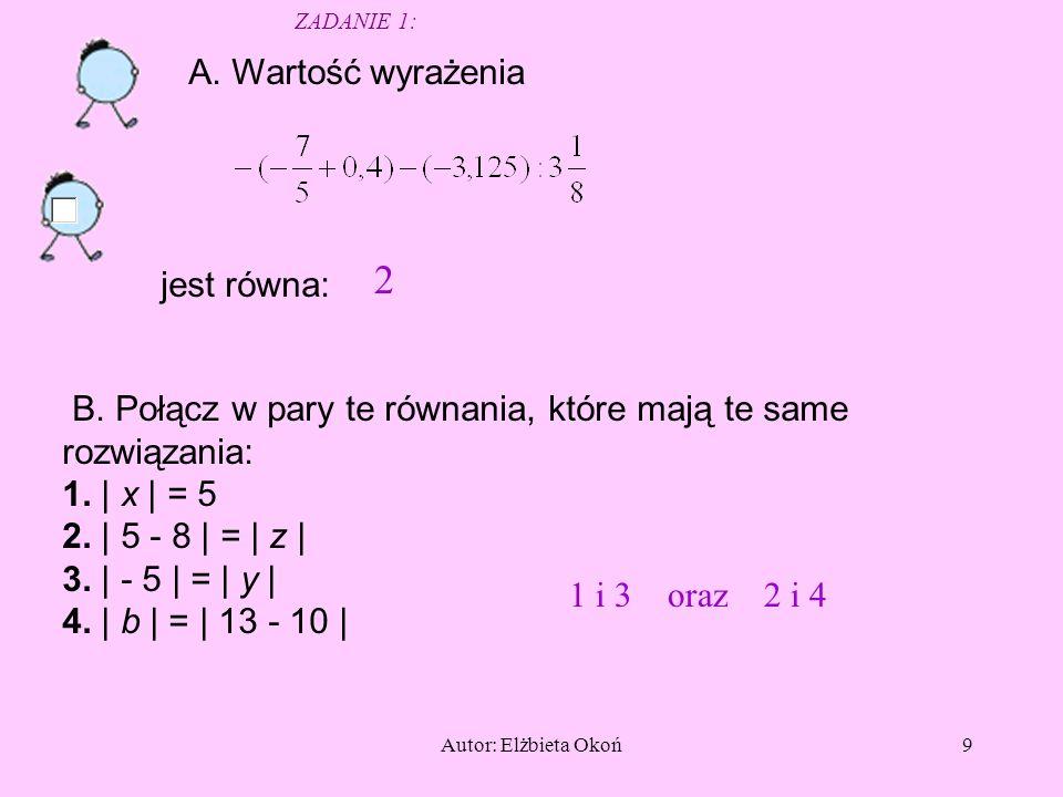 Autor: Elżbieta Okoń9 A.Wartość wyrażenia jest równa: 2 B.