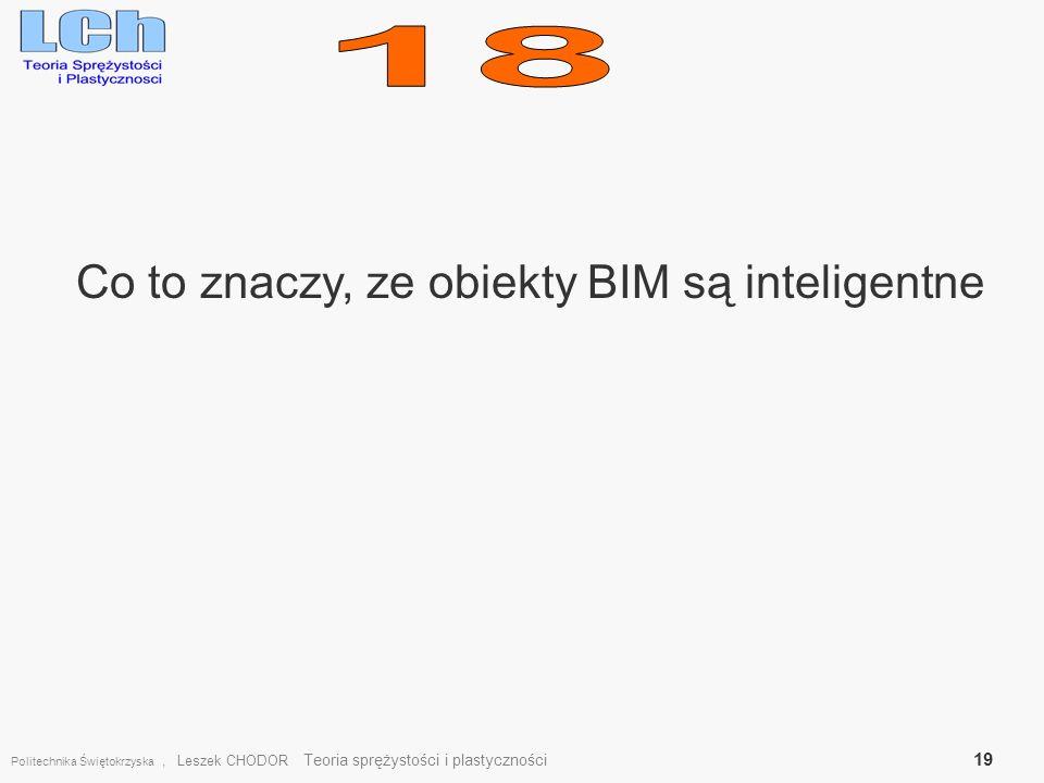 Co to znaczy, ze obiekty BIM są inteligentne Politechnika Świętokrzyska, Leszek CHODOR Teoria sprężystości i plastyczności 19