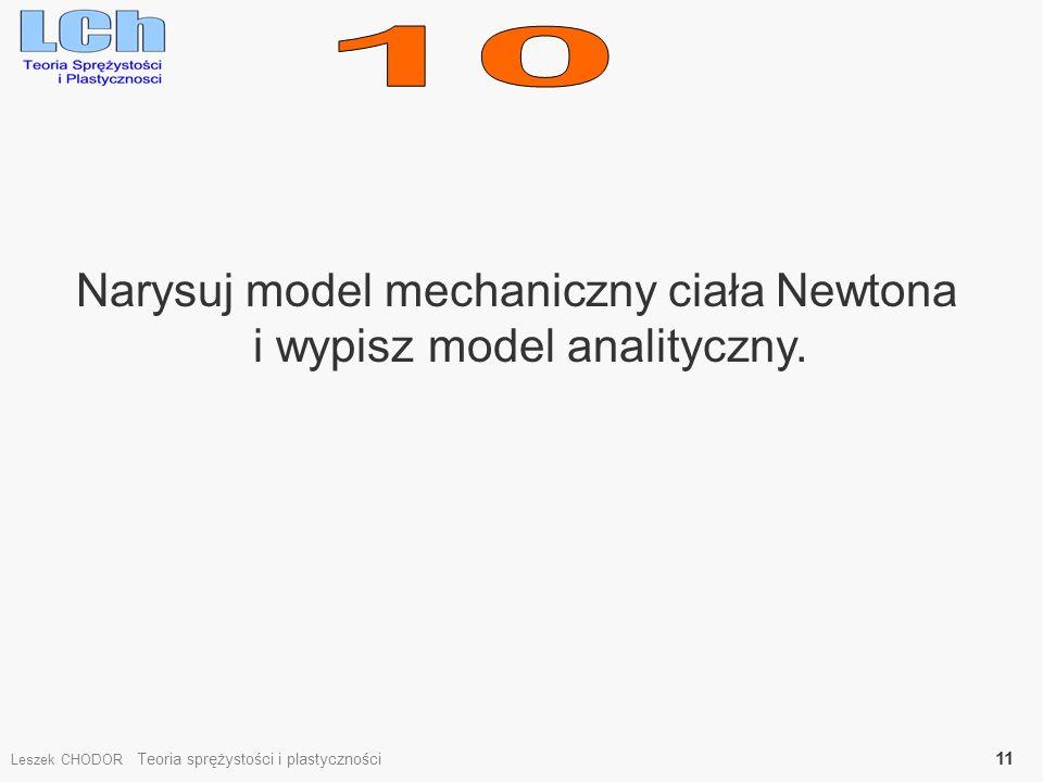 Narysuj model mechaniczny ciała Newtona i wypisz model analityczny. Leszek CHODOR Teoria sprężystości i plastyczności 11