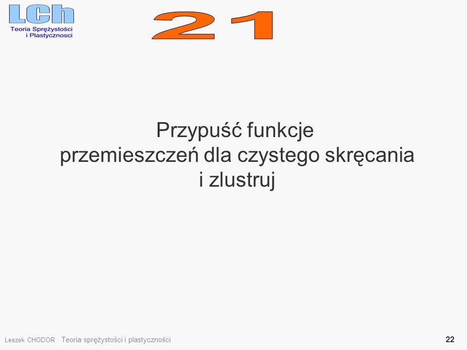 Przypuść funkcje przemieszczeń dla czystego skręcania i zlustruj Leszek CHODOR Teoria sprężystości i plastyczności 22