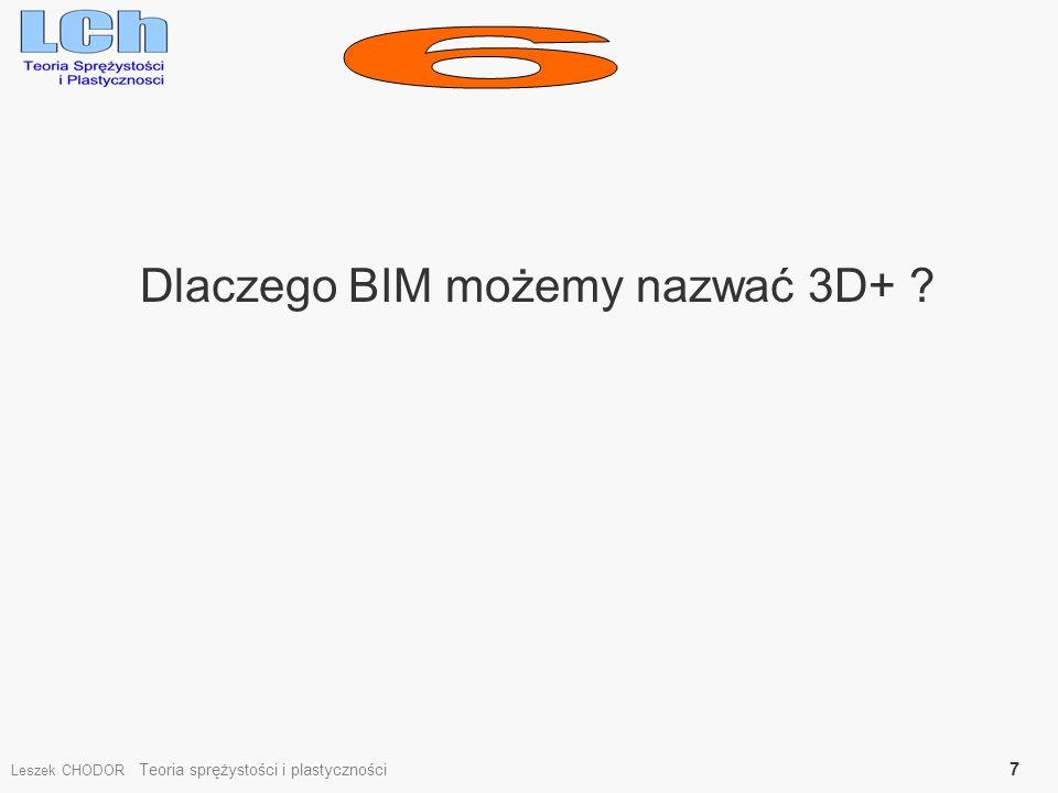 Dlaczego BIM możemy nazwać 3D+ ? Leszek CHODOR Teoria sprężystości i plastyczności 7