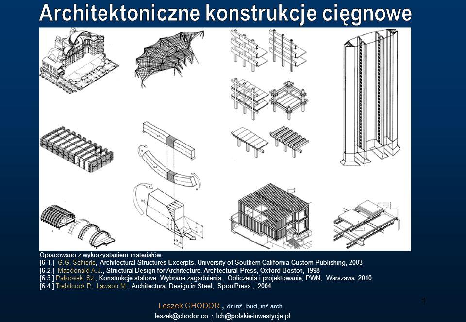 Konstrukcje cięgnowe {1} Konstrukcje cięgnowe chętnie są chętnie stosowane we współczesnej architekturze Politechnika Świętokrzyska, Leszek CHODOR Konstrukcje stalowe dla Architektów 2 Przykład konstrukcji cięgnowej.